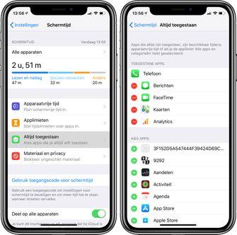 schermtijd ios 12 apps toestaan whitelist