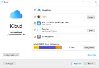 Je iCloud opslag bekijken op een Windows PC