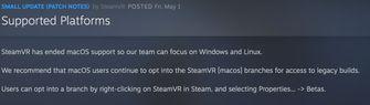 Valve kondigt einde van SteamVR voor de Mac aan