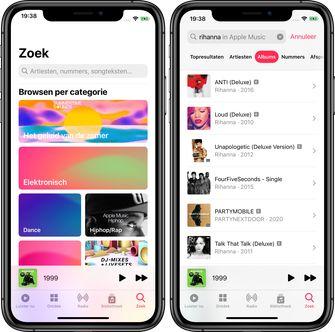 iOS 14 muziek-app zoeken