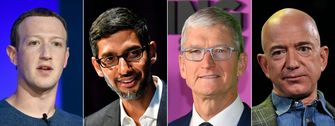 Apple, Facebook, Amazon en Google Mark Zuckerberg, Sundar Pichai, Tim Cook en Jeff Bezos hoorzitting