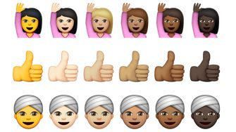 Emoji in verschillende huidstinten