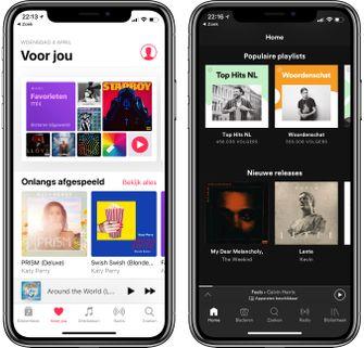 Apple Music en Spotify op iPhone X
