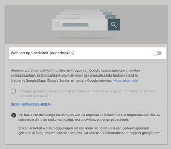 google web en app activiteit