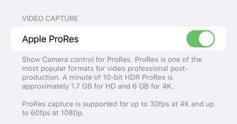 iOS 15.1 apple ProRes