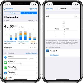 iOS 12 schermtijd app limiet per app