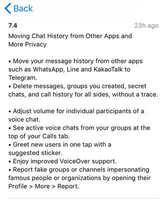 Telegram iOS app WhatsApp
