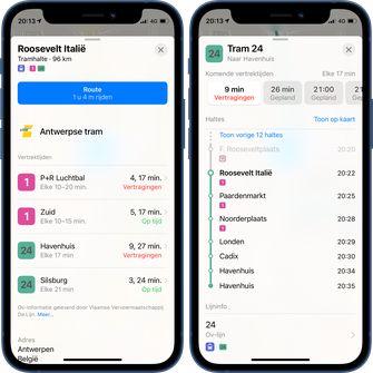 Apple Maps real-time OV belgie