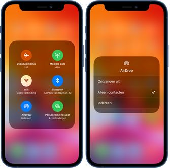 Airdrop opties op een iPhone
