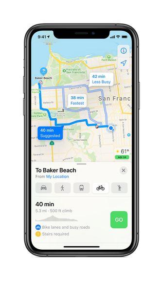 iOS 14 Cycling Apple Maps