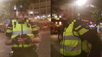 Foto's van twee Rotterdamse agenten worden in de Telegram-groep gedeeld.
